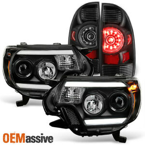 Black Fits 2012 2015 Toyota Tacoma Led Tube Projector Headlight Led Tail Light