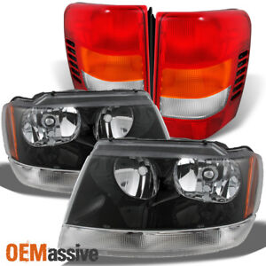 Fit 99 04 Jeep Grand Cherokee Black Headlights Red Tail Lights Replacement