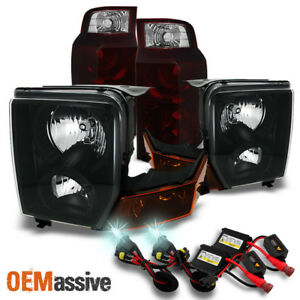 Fit 06 10 Jeep Commander Black Headlights Dark Red Tail Lights 8000k Hid