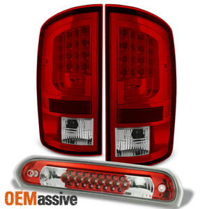 Fits 02 06 Dodge Ram 1500 03 06 2500 3500 Red Led Tail Lights 3rd Brake Lamp