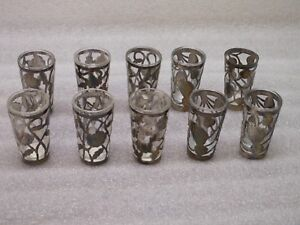 10 Mexico Sterling Silver Fillagree Overlay Cordial Shot Glass Jigger Vintage