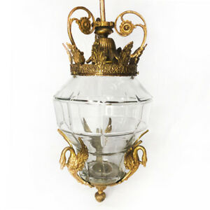 Antique 1920 S French Empire Swan Brass Pendant Hanging Light