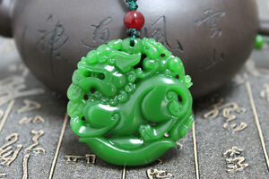 China Nephrite Hetian Green Jade Carve Fengshui Zodiac Dragon Necklace Pendant