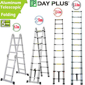 10 5 12 5 16 5ft Aluminum Ladder Fold Extend Telescopic Loft Office Garden Tool