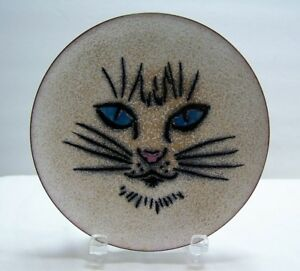 Copper Enameled Cat Kitty Plate Tray Vtg 1960 S Made By Annemarie Davidson