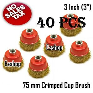 40pcs 3 Threaded Crimp Cup Wire Wheel Brush 5 8 For Angle Grinder