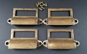 4 Antique Brass File Apothecary Drawer Pull Handles 3 1 4 W Label Holders Z33