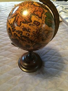 Office Decor Vintage Wood 14 Tabletop Globe Made In Italy