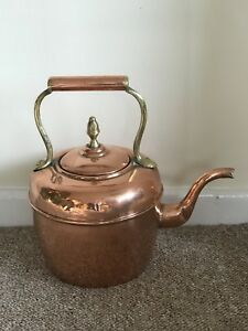 Antique French Deposee Copper Brass Kettle Country Kitchen Decorative Large