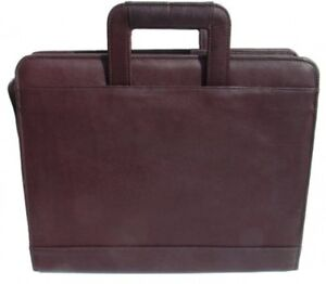 Piel Leather Three ring Binder With Handle Chocolate One Size