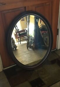 Vintage Mirror Hall Wall Oval Thick Dark Wood Large