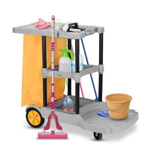 Janitorial Cleaning Cart Rolling Janitor Uitility Cart W 3 Shelves
