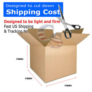 100 8x8x8 Cardboard Box Mailing Packing Shipping Moving Boxes Corrugated Cartons