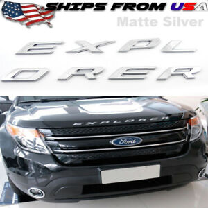 Us Matte Chrome Hood Emblem Letters Fits 2011 2018 Ford Explorer Sport Decals