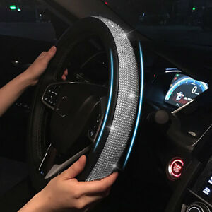 Universal 38cm Bling Bling Car Steering Wheel Cover Pu Leather With Rhinestones