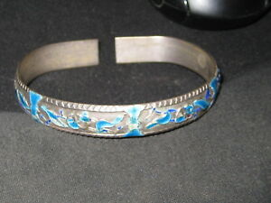 Antique Chinese Enamel Heavy Silver Cuff Bangle Bracelet Lovely