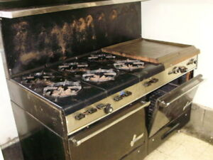 Commercial Garland Natural Gas Stove 6 Burner Double Oven 24 Grill Griddle