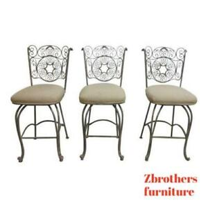3 Vintage Super Quality Bronze Coated Metal Scroll Counter Bar Stools Chair