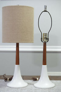 Mid Century Modern Porcelain Tulip Base Table Lamps With Wood Berger Harps