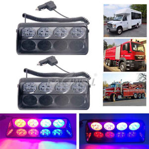 Pair Car 16 Led Red blue Police Strobe Flash Light Dash Emergency Flashing Light