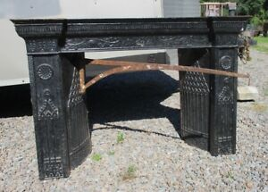 Ca 1835 Iron Fireplace Insert Surround Side Panels Top Ornate Architectural