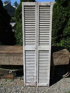 Pair Antique Wood Shutters White Crackled Paint 73 1 2 H X 12 W