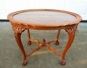 Vtg French Carved Wood Side Lamp Table W Glass Tray Top Victorian Art Nouveau