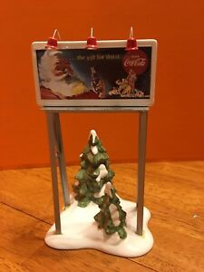 Dept 56 Snow Village Coca Cola Billboard Accessory 1994 Santa w/ Coke #5481-0