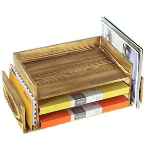 Desk Tray Office Drawer Organizer File Rack For Desktop Wood Folder Holder