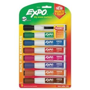 Expo 1944741 Magnetic Dry Erase Marker Chisel Tip Assorted 8 pack