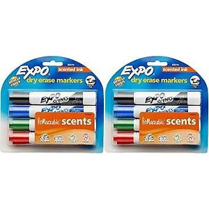 Expo Scented Dry Erase Markers Chisel Tip Assorted Colors 4 piece pack Of 2