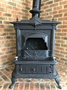 1878 Victorian Antique Cast Iron Wood Burning Parlor Stove Perry