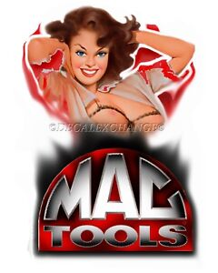 Mac Tools Sticker Decal Stretch Pinup Girl Mechanic Toolbox Sign Tin Chest Usa