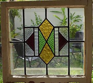 Antique Leaded English Stained Glass Window Wood Frame England Old House 34
