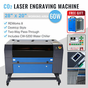 50w Co2 Laser Engraving Machine Engraver Cutter With Auxiliary Rotary 20 12