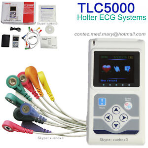 Contec Tlc5000 Holter Ecg 24hour Monitor Sync Pc Software Analysis 12 lead Fda