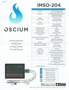 Oscium Imso 204 Portable Oscilloscope With 2 Analog Plus 4 Digital Channels