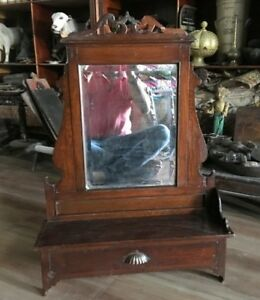 Vintage Old Teak Wood Belgium Glass Made Beautiful Dressing Mirror Frame