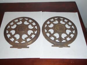 Antique Universal Stove And Ranges Cast Iron Cover Plates Fleur De Lis Art Deco