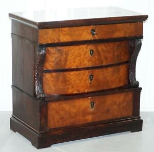 French Victorian Rosewood Mahogany Bow Fronted Chest Of Drawers Biedermeier