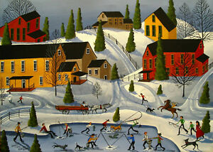 Landscape Ice Fishing Snow Winter Country Giclee Aceo Print Folk Art Criswell