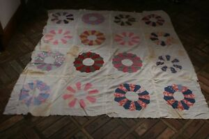 Vintage Antique Patchwork Quilt Top Unfinished Dresden Plate For Repair 56x58