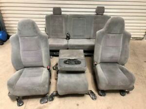 04 Ford F250 Super Duty Crew Cab Front Rear Gray Cloth Power Seats W Console
