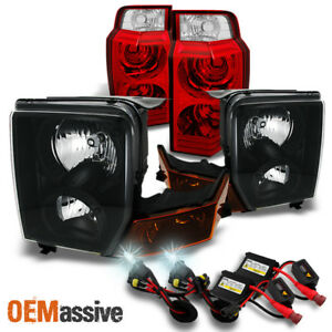 Fit 06 10 Jeep Commander Black Headlights Red Clear Tail Lights 6000k Hid