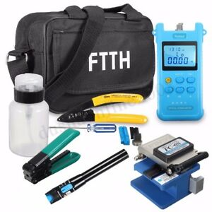 Fiber Optic Ftth Termination Tool Kits Fault Finder Power Meter Cleaver W Fc 6s
