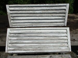 Pair Antique Horizontal Wood Shutters Vents 32 W X 12 H Worn