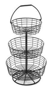 Countertop Dump Bin 3 tier Baskets Wire Display Retail Store Fixture Black New