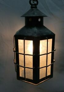 Arts And Crafts Copper Iced Glass Pendant Light Fixture Lantern Mission 102 19c