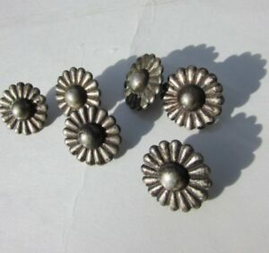 Pewter Buttons Daisy Realistic Antique Set Of 6 Flower Daisies