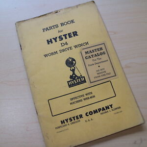 D4 Caterpillar Crawler Tractor Bulldozer Hyster Winch Owner Parts Manual Cat Wrb